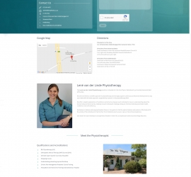 One page website for a physiotherapist in Somerset West, South Africa