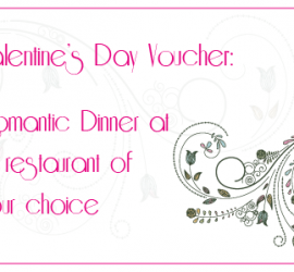 Valentines Voucher for restaurant of your choice