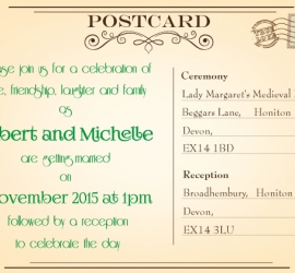 Graphic Design for a Wedding in England - Invitation Postcard Front